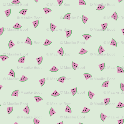 Little water melon slices sweet summer fruit pink mint