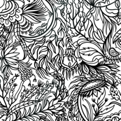 Bohemian Doodle Pattern Black and White