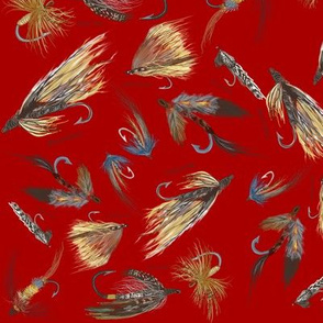 Fly Fishing Lures on Red