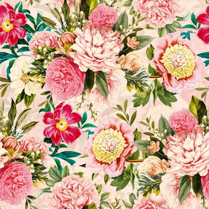 """18"""" Pierre-Joseph-Redoute - Historic pastel Roses and Peonies bouquets fabric on blush pink - redoute roses fabric"""