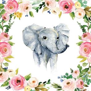 spring floral elephant lovey 18x18