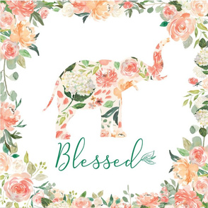 Blessed floral elephant 6 loveys 18x18""