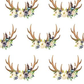 Blush Ivory Floral Deer Antlers