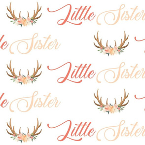 peach floral little sister antlers