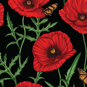 Botanical Red Poppy Flowers with Butterflies