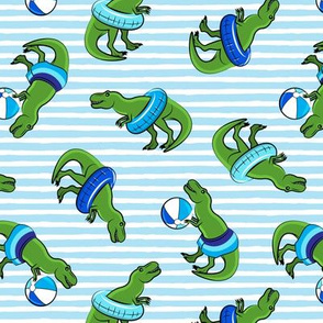 Summer Trex - Pool floats blue -  toss on blue stripes - LAD19