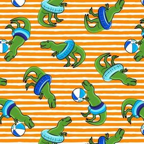 Summer Trex - Pool floats OG -  toss on orange stripes  - LAD19