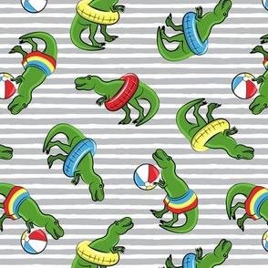 Summer Trex - Pool floats OG -  toss on grey stripes - LAD19