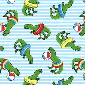 Summer Trex - Pool floats OG -  toss on blue stripes - LAD19