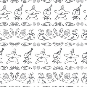 Cute black and white nautical animals print