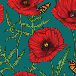 Botanical Red Poppy Flowers on Dark Green - Large Size