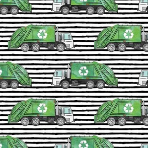 Recycle Trucks - Recycling Truck Garbage Truck Green - black stripes - LAD19