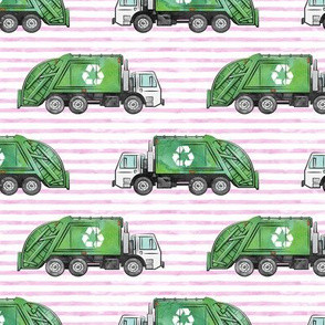Recycle Trucks - Recycling Truck Garbage Truck Green - pink stripes - LAD19