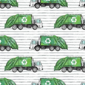 Recycle Trucks - Recycling Truck Garbage Truck Green - grey stripes - LAD19