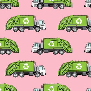 Recycle Trucks - Recycling Truck Garbage Truck Green - pink - LAD19