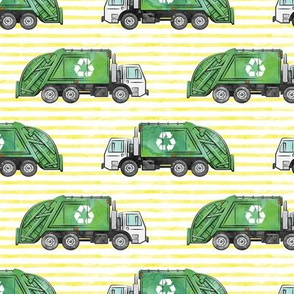 Recycle Trucks - Recycling Truck Garbage Truck Green - yellow stripes - LAD19