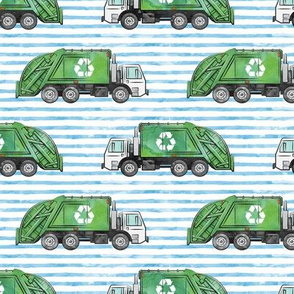 Recycle Trucks - Recycling Truck Garbage Truck Green - blue stripes - LAD19