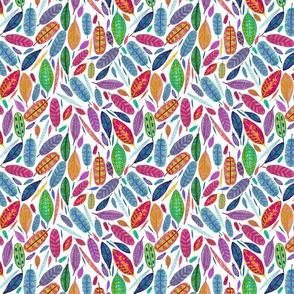 Watercolored Feathers, Multi, medium