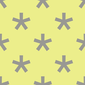Jumbo Gray Stars on Citron, Geometric Shapes, Modern Graphic Pattern