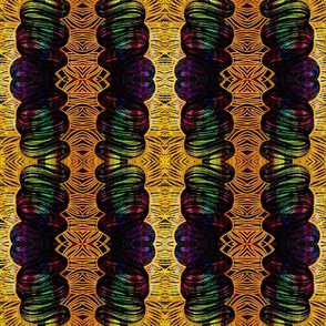 Black, green and gold repeat patterns