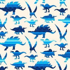 19-06C Dinosaur Nautical Blue Stripe on Off White Cream