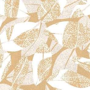 Spotted Leaves White Ivory on Jute  150