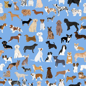 LARGE - dogs -  dog fabric lots of breeds cute dogs best dog fabric best dogs cute dog breed design dog owners will love this cute dog fabric - baby blue