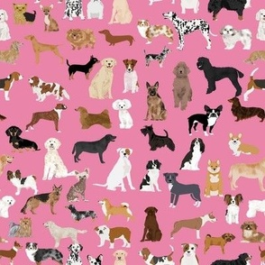 Dogs fabric -  dog fabric lots of breeds cute dogs best dog fabric best dogs cute dog breed design dog owners will love this cute dog fabric - pink