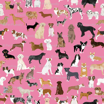 LARGE - dogs -  dog fabric lots of breeds cute dogs best dog fabric best dogs cute dog breed design dog owners will love this cute dog fabric - pink