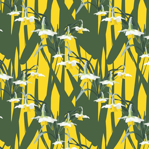 Green and Yellow Daffodils. Grassy meadow green abstract spring time print.  Dancing daffodils.