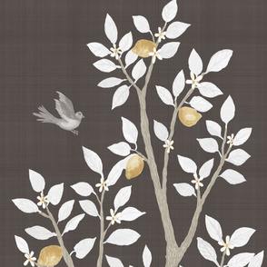 Chocolate Linen LEMON TREE PANEL A