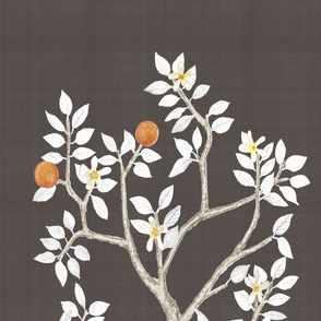 Citrus Grove Chocolate Linen Orange Tree Panel B