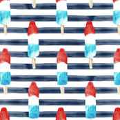 (small scale) bomb pops on watercolor navy stripes C19BS