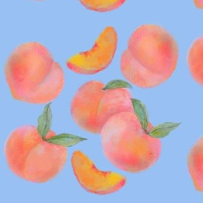 Peaches on blue