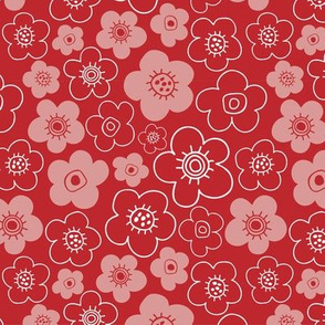 Floral pattern Red