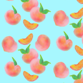 peaches on aqua