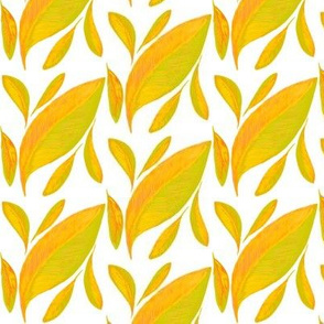 Golden Leaves Drifting on White - Small Scale