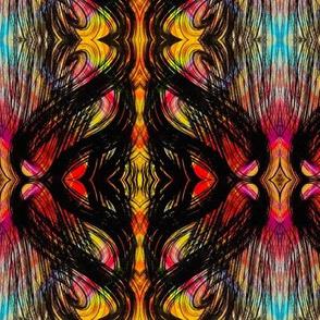 Tile pattern yellow, red, black, blue