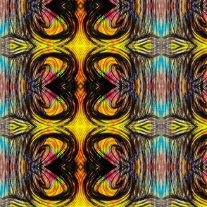 Curvilinear pattern, yellow black and pink
