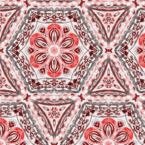 Coral Textured Floral Hexagon Stars