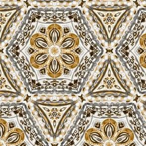 Caramel Tan Textured Floral Hexagon Stars