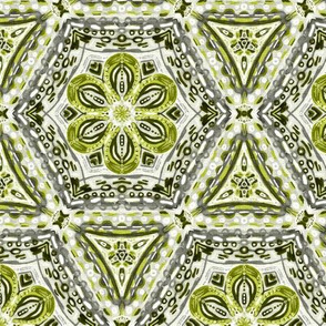 Olive Green Textured Floral Hexagon Stars