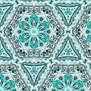 Teal Green Textured Floral Hexagon Stars