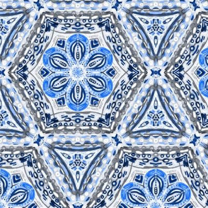 Periwinkle Blue Textured Floral Hexagon Stars