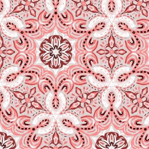 Coral Textured Boho Hex Pattern
