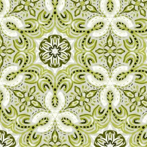 Olive Green Textured Boho Hex Pattern