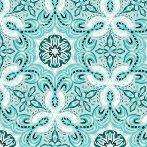 Teal Green Textured Boho Hex Pattern