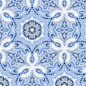 Periwinkle Blue Textured Boho Hex Pattern