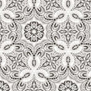 Neutral Grey Textured Boho Hex Pattern