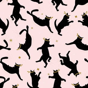 Black Ninja Cats on Pink